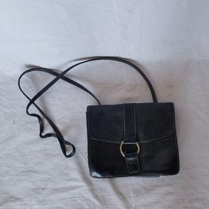Fossil black leather crossbody purse.